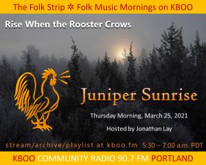 Foggy morning sunrise with juniper trees
